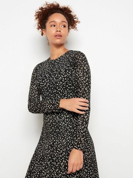 Mönstrad långärmad klänning Svart