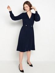 Marinblå långärmad klänning Blå