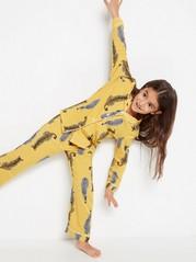 Pyjama, jossa seeproja ja leopardeja Keltainen
