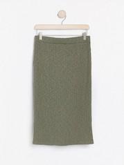 Žebrovaná midi sukně Zelená