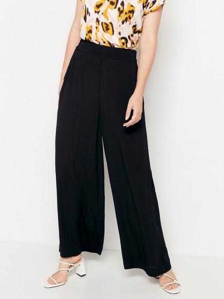 Korkeavyötäröiset housut, joissa leveät lahkeet Musta
