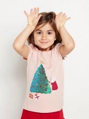 Vaaleanpunainen lyhythihainen pusero, jossa paljeteista tehty joulukuusi Vaaleanpunainen