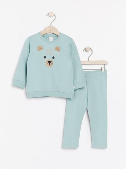 Set med sweatshirt och leggings med djuransikte Aqua