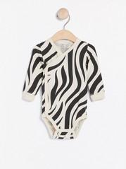 Omlottbody med zebramönster Beige