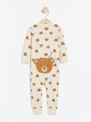 Pyjamas med björnar och applikation på rumpan Beige
