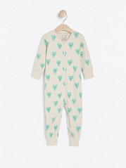 Pyjamas med hjärtan Beige