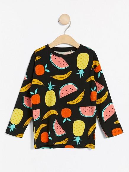 Pitkähihainen pusero, jossa hedelmiä Musta