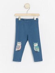 Siniset leggingsit, joissa on pöllöpainatus Sininen