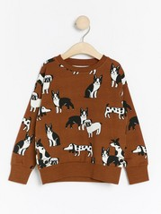 Oversized brown sweatshirt with dogs Brown