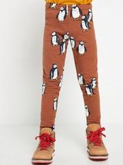 Leggings med pingviner og børstet innside Brun