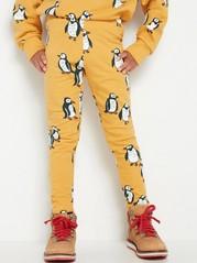 Leggings med pingviner og børstet innside Gul