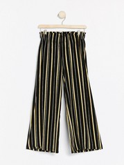 Wide cropped striped trousers Black