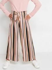 Široké proužkované kalhoty Růžová