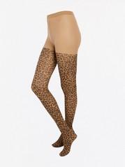 Punčochové kalhoty sleopardím vzorem Hnědá