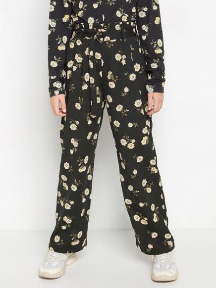 Vid, blomstrete bukse med paperbag-midje Svart