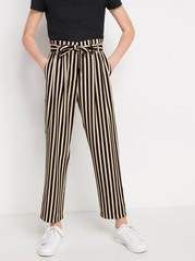 Randig loose fit byxa med paper-bag waist Svart