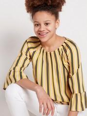 Kuvioitu pusero, jossa trumpettihihat Keltainen