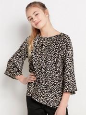 Leopardmønstret bluse med knytebånd Svart