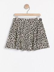 Leopardmønstret jerseyskjørt Beige