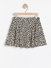 Leopardmönstrad trikåkjol Beige