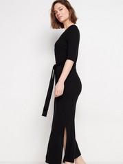 Ribbestrikket kjole i lyocellblanding Svart