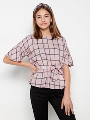Rutete rosa bluse med knytebelte Rosa