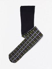 Kostkované punčochové kalhoty Černá