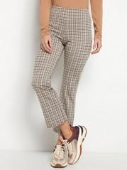 Vajaamittaiset housut, joissa ruutukuvio Ruskea