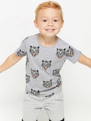 Harmaa t-paita, jossa tiikereitä Harmaa