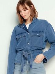 Jeansjacka med knytskärp Blå