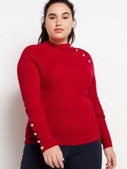 Strikket genser med gullfargede knapper Rød