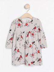 Grå trikåklänning med fåglar Grå