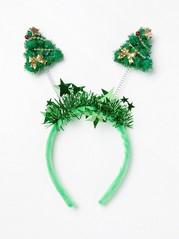 Hiuspanta, jossa kimaltavat joulukuuset Vihreä