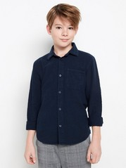 Mørk marineblå skjorte av linblanding Blå