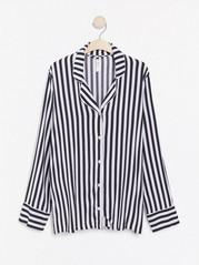 Pruhovaná pyžamová košile Černá