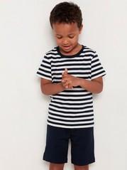 Randig kortärmad t-shirt Blå