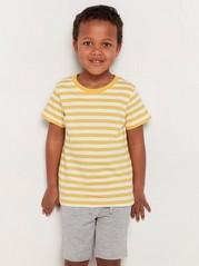 Randig kortärmad t-shirt Gul