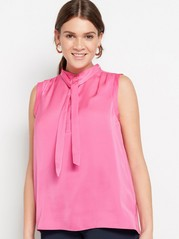 Mønstret bluse med knytebånd Rosa