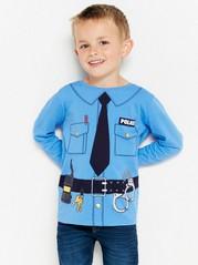 Sininen pusero, jossa on poliisiasupainatus Sininen