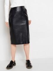 Krokomönstrad kjol i läderimitation Svart