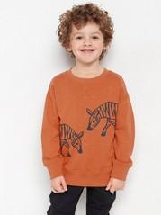 Oversize mörkorange sweatshirt med zebra-tryck Orange