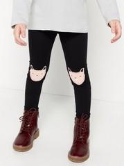 Mustat leggingsit, joissa kissapolvipaikat Musta