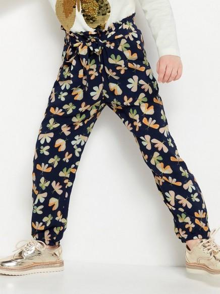 Ledig bukse med sommerfuglmønster Blå