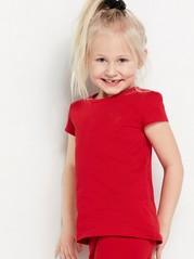 Punainen lyhythihainen pusero, jossa sydänkirjailu Punainen