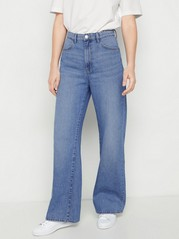 High waist-jeans med vida ben Blå