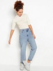 Jeans med høyt liv og avsmalnende ben Blå