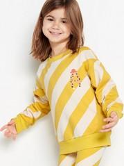 Oversize gulrandig sweatshirt med tryck Rosa