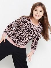 Rosa sweatshirt med leopardmönster Rosa