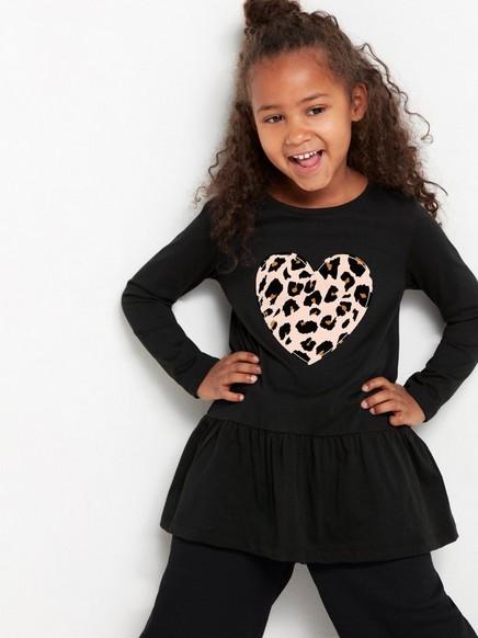 Svart tunika med leopardmönstrat hjärta Svart