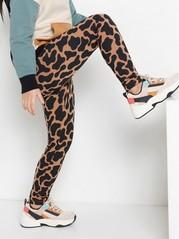 Rosa leopardmönstrade leggings med borstad insida Rosa